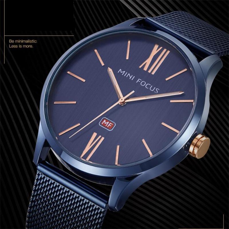 Mens ultra-fino relógios Casual marca de luxo luxo relógio de relógio de quartzo relógio azul relógio homens À Prova D 'Água Esporte Cronógrafo Relogio Masculino
