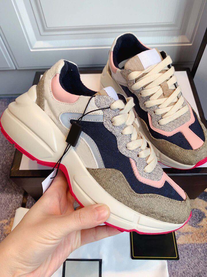 Rhyton 620185 99WF0 4371 Бежевые женские кроссовки старинные роскоши преодоленные женские туфли дизайнерские кроссовки 35-40