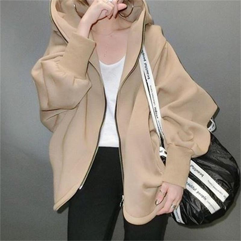 Spring Casual Femmes Harajuku Sweats Sweatshirt Manteau Zip Up Vêtements de dessus Vente à capuche PLUS Taille Outwear Tops Simple Brown 201209