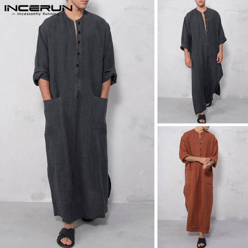Этническая одежда Ancerun Мужчины Исламский арабский мусульманский кафтан сплошные карманы с длинным рукавом Ретро Абая Саудовская Аравия Мужская одежда Платье Jubba Thobe S-5