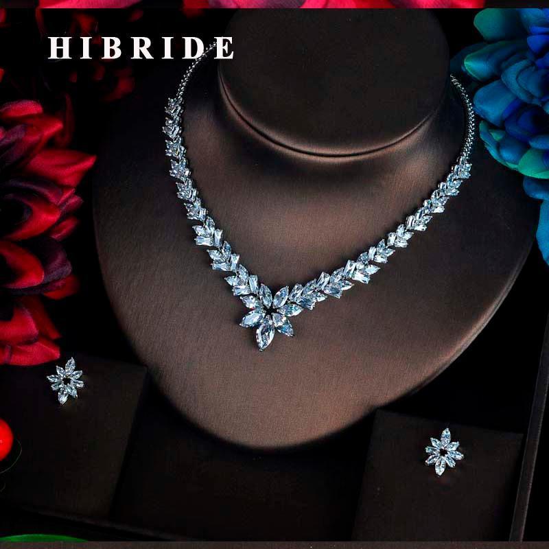 Hibride Charm Sparkling Cubic Zircon Jeux de bijoux pour femmes Accessoires Pendientes Piétras Collier Boucles d'oreilles Bijoux Ensemble N-586
