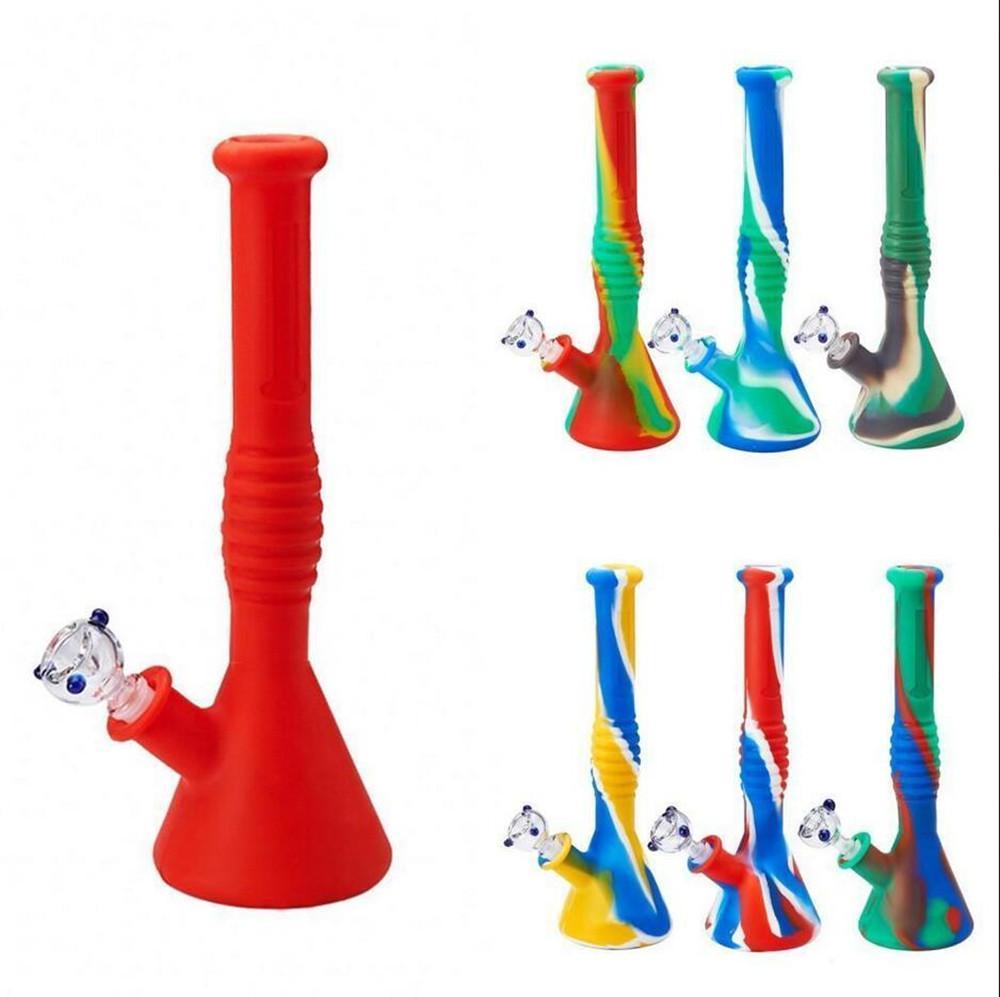 """12"""" Altura Silicone Bong colorido Silicon Hookah Shisha cano de água portátil Hookah frete grátis FY2267"""