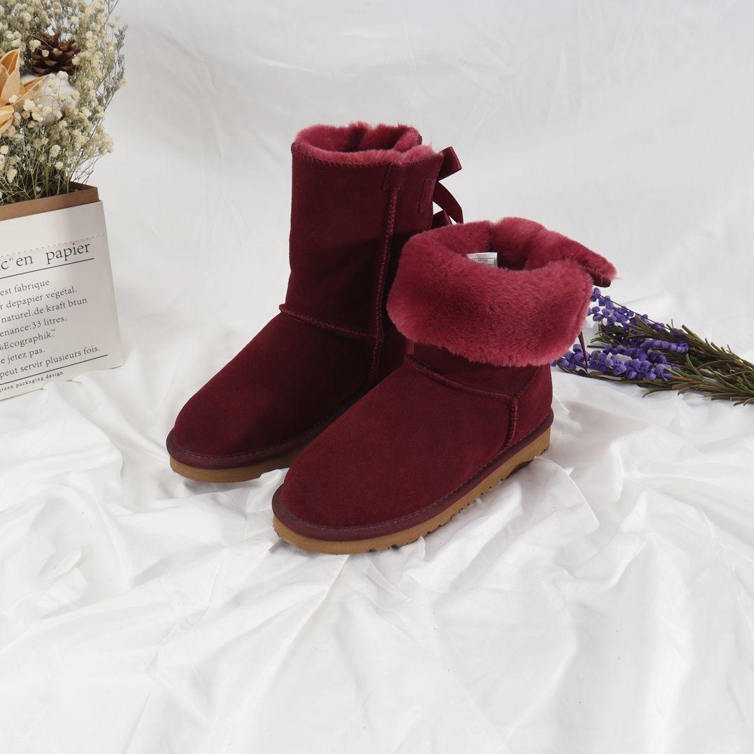 Новый мех один лук снежные сапоги женские большие размер короткие трубки Winterladies короткие плюс хлопковые ботинки детей # 950