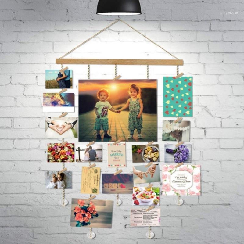 Wooden Hanging Photo Frame Kids Photo Picture Display Holder Wall Decoration Wall Frame With 20 Clips Crystal Pendant1
