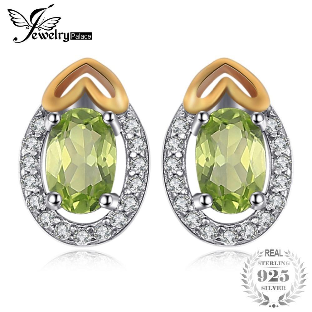 JewelryPalace Luxry 1.13ct Genuine Gemstone Peridot Stud Brincos 925 Sterling Prata Fine Jewelry Brincos Coração Para Mulheres Presente 201223
