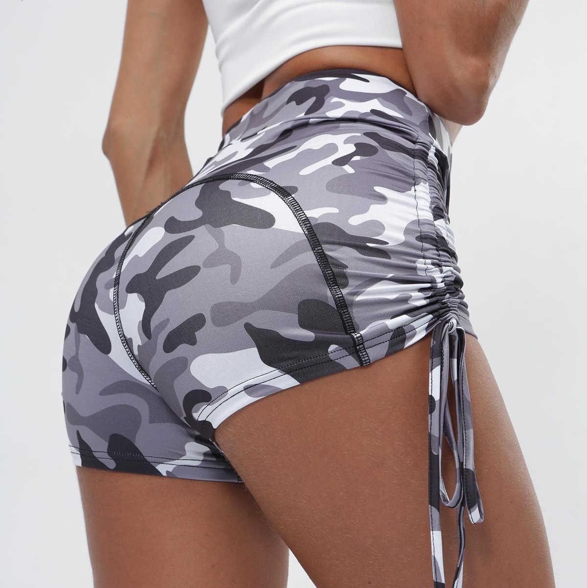 Camouflage Pantalon de Yoga imprimé Femme High Taille Fitness Exercice Sexy Cordon Cordon serré 4153