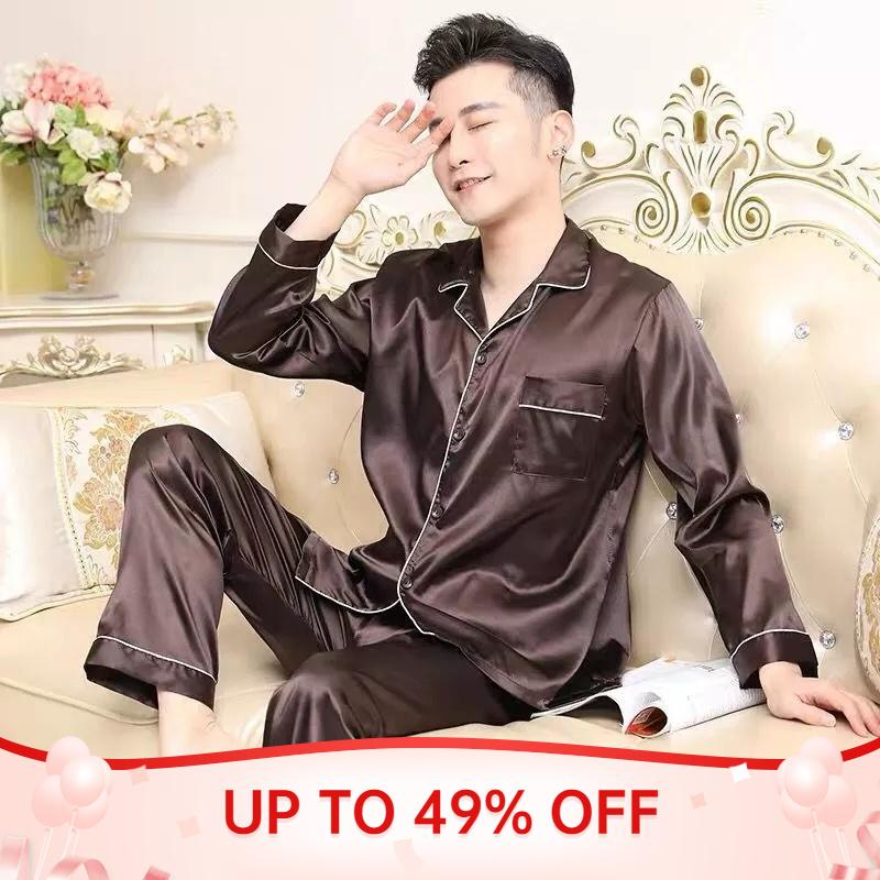 Pigiama Set Set Solid Satin Summer Manica lunga Autunno Autunno Homewear Silk Uomini Sleepwear Suit Casual Dormir Top Pigiama Maschio Dormire Tops
