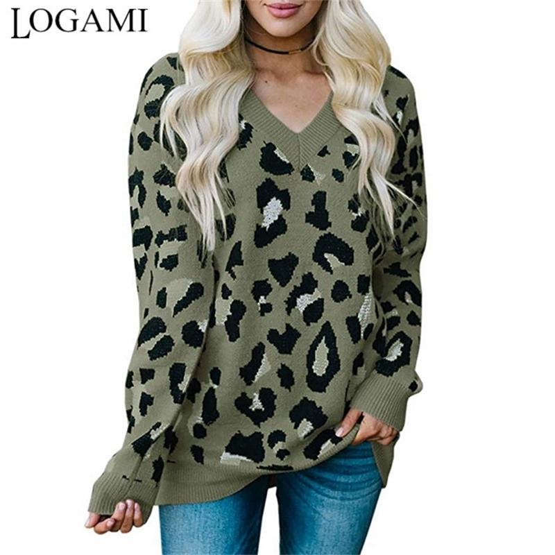 Logami V шеи леопардовые женщины вязаные с длинным рукавом Пуловер и свитер Женская осень зимний джемпер Y200910