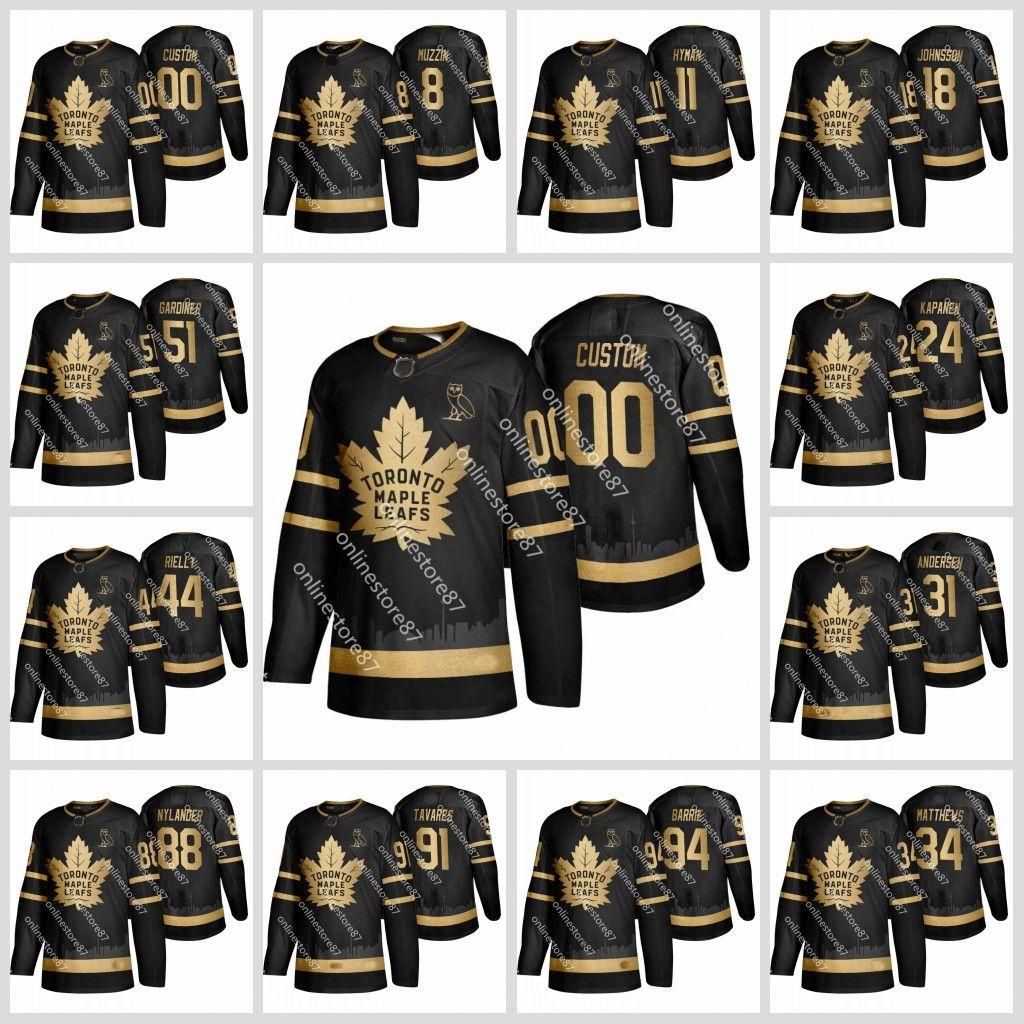 Toronto Maple Hokkey Hockey 34 Auston Matthews John Tavares Jake Gardiner 88 William Nelander Black Gold Jersey Настроить любое имя и номер