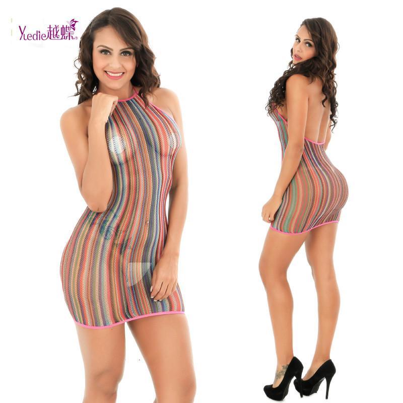 Bunte Frauen-reizvolle Streifen Wäschehalter Backless Nachtwäsche Versuchung Babydoll Female Minikleid-Unterwäsche-exotisches Kleid