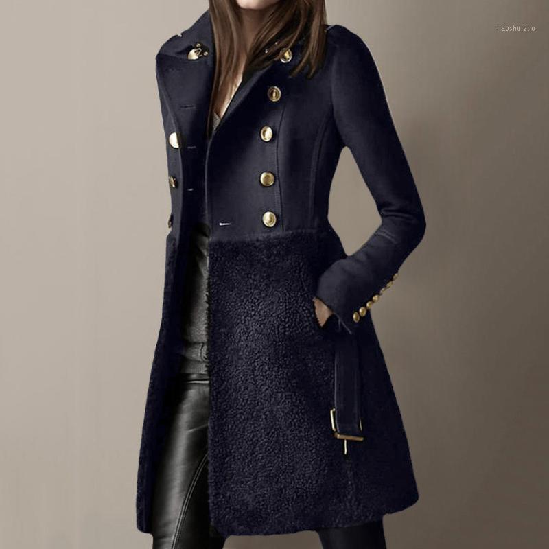 Chaqueta de abrigo de lana de las mujeres otoño invierno de moda grueso remiendo del remiendo del vellón de la oficina de la oficina elegante de la oficina de los abrigos de lana abrigos de lana de gran tamaño1