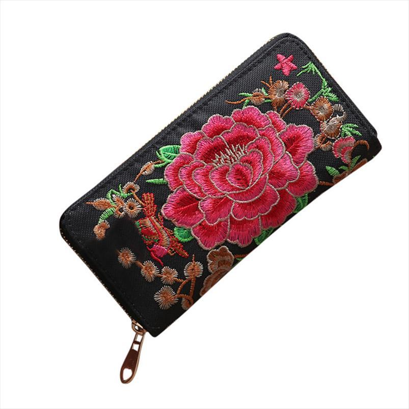 2019 Bag Card Single Pull Münze Stickerei Ethnische Brieftasche Mode Tasche Frauen Stil 0 JKMQD