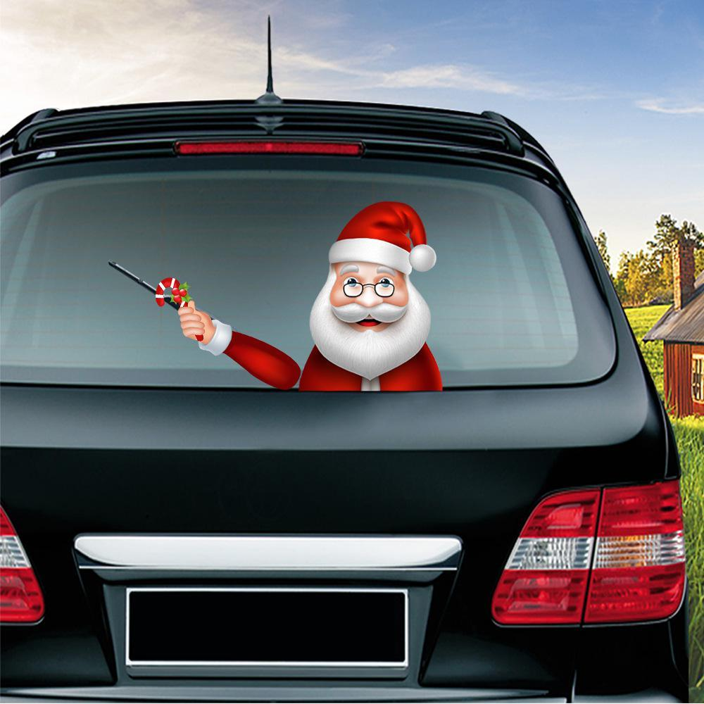 سلسلة عيد الميلاد ملصقات السيارات سحر عيد الميلاد سانتا كلوز يلوحون الأيل عيد الميلاد الزجاج ملصقات السيارات الخلفية الزجاج الأمامي ممسحة ملصقات DWA1717