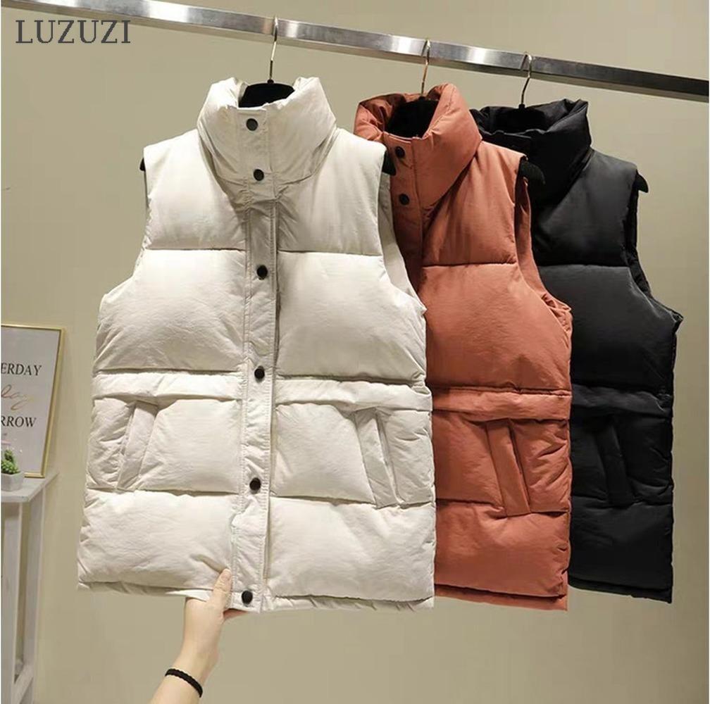 Luzuzi 2020 Kadın Yelek Kış Sıcak Artı Boyutu Aşağı Pamuk Yastıklı Ceket Kadın Yelekler Standı Yaka Kolsuz Yelek