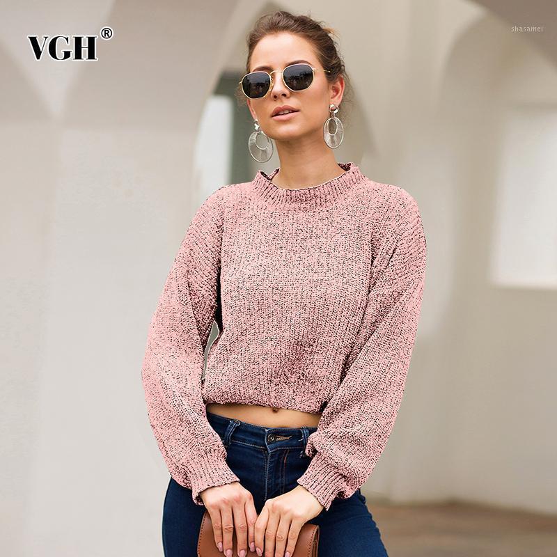 VGH Черный вязальный свитер для женской шеи фонарь рукава пуловеры короткие свитера женщины 2019 осень мода новая одежда1