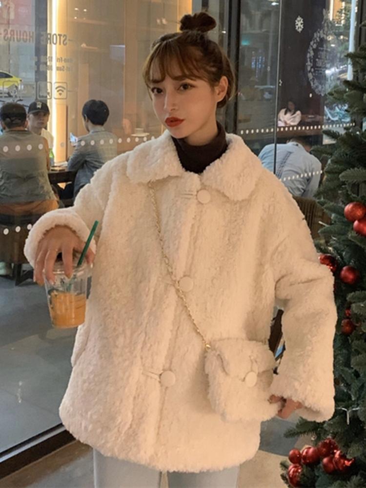 Новый стиль женская осенняя и зимняя хлопковая мягкая куртка с свободным имитацией шерсть ягненка и кашемировой утолщенной с длинным рукавом