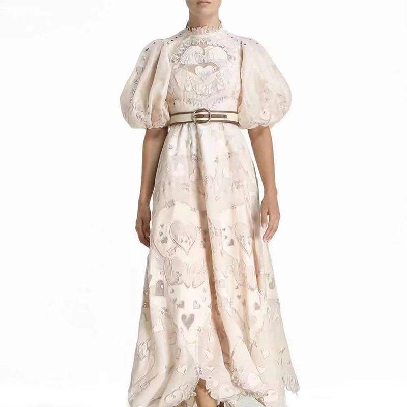 2021 женское платье весна и летняя мода в форме сердца шаблон круглые шеи с короткими рукавами Slim вскользь праздничные платья