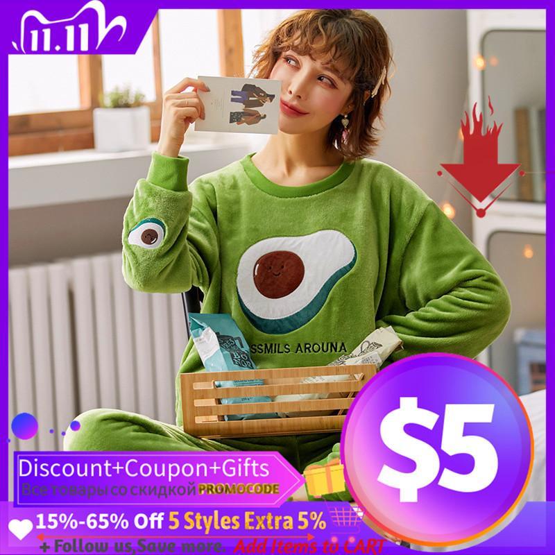 De dibujos animados ropa de noche de invierno caliente pijama pijama de franela Señora elegante Imprimir fijaron a las mujeres suéter polar de coral Pijamas Mujer Inicio Trajes