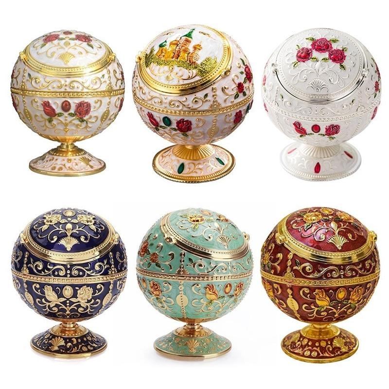 Globe Ashtray With Cover Fashion Personality Multifunctional Home Room Tellurian Retro Ashtray Mini Ashtray Relief Stamped Y200324