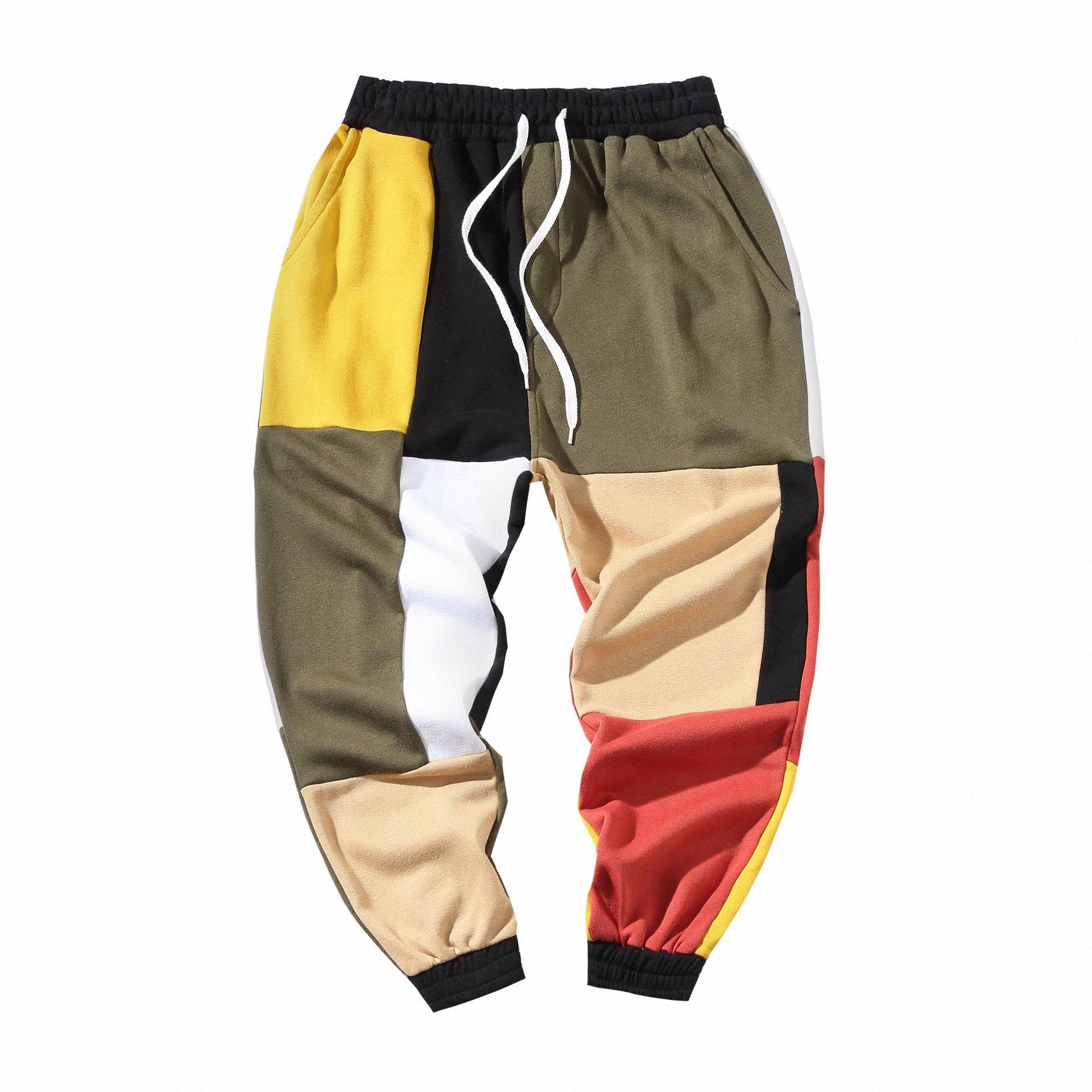 Calças Mens Patchwork Cor Harem Carga streetwear Joggers Casual Calças Calças Masculino Rua Vintage Cotton Sweatpants i24D #