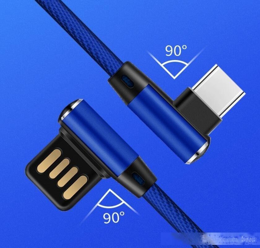 Dual L 90 Grad Flexibles Metall USB Typ-C-Kabel schnelles USB-Ladekabel für Typ C-Micro-USB-Gaming-Kabel-Ladegerät