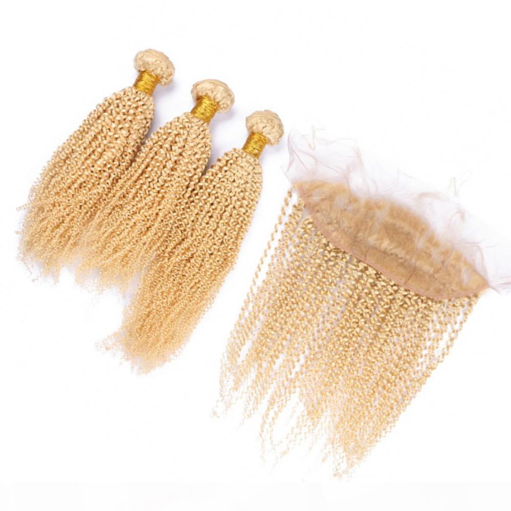 # 613 Cabello humano rubio y encaje frontal 13 * 4 Pelo sin procesar Afro Kinky Rizado 3pcs Paquetes de cabello con oreja a oreja Cierre frontal de encaje