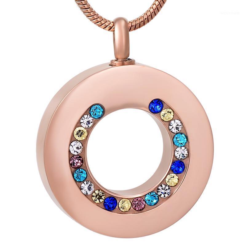 IJD8195 Collana commemorativa del cerchio coassiale di cristallo in acciaio inox IJD8195 per ceneri Urn Keepsake Souvenir Pendant Jewelry1