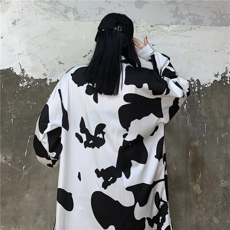 Deeptown İnek Baskı Bluzlar Kore Tarzı Moda Sonbahar 2020 Düğme Yukarı Gevşek Uzun Kollu Kadın Gömlek Eğlence Tops Q1219