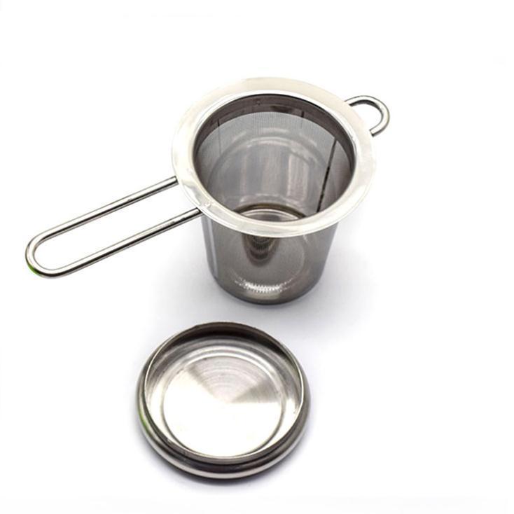 Чайник Чайник Чайник с крышкой из нержавеющей стали Свободные листья Чай Инфузер Корзина Фильтр Большой С крышкой