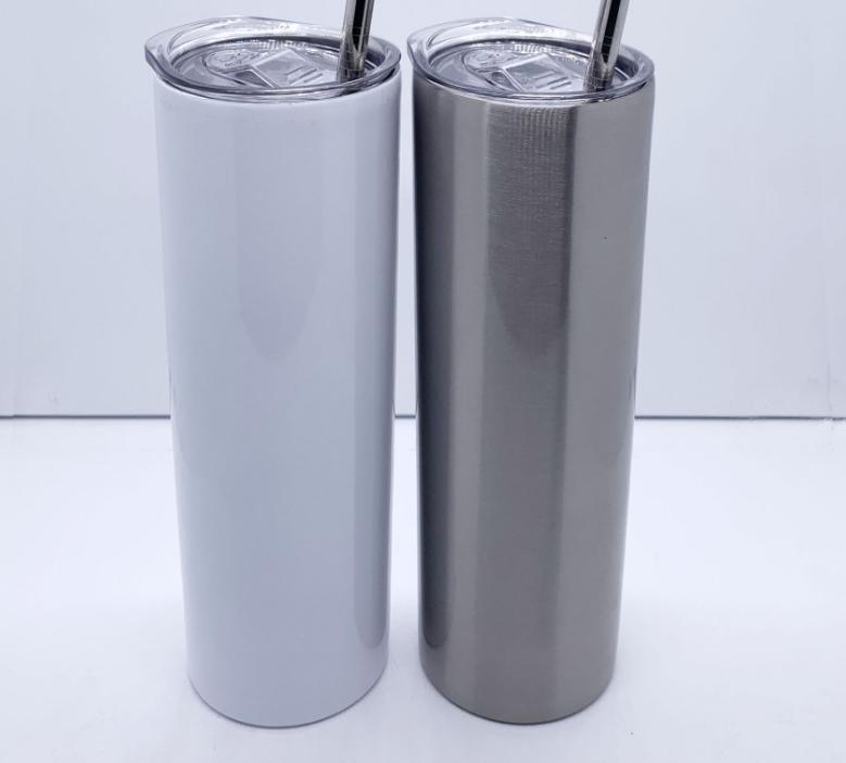 20 onças sublimação aço inoxidável tumbler linear magro tambor de vácuo de parede dupla com isolamento com tampa vedada e palha de plástico