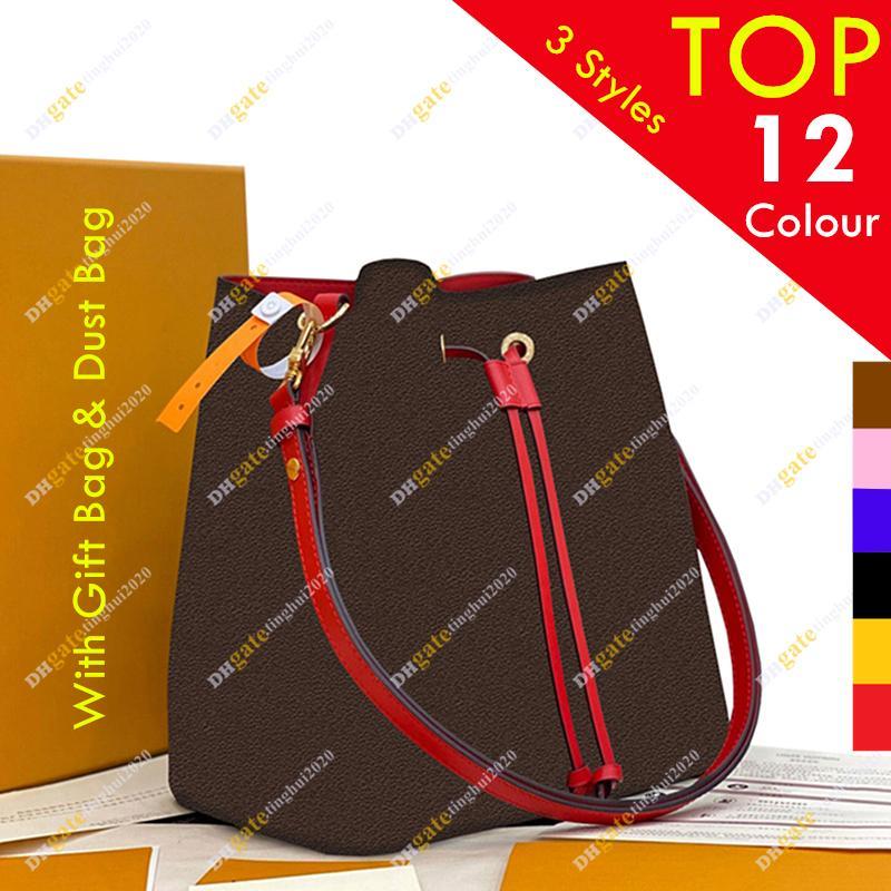 Designer Designer Shipping Bucket Quality Fashion Ladies 5A Flower Dust Bags Borse a tracolla M44021 M44022 Borsa da regalo Borsa da regalo Stock Libera libero OQBO