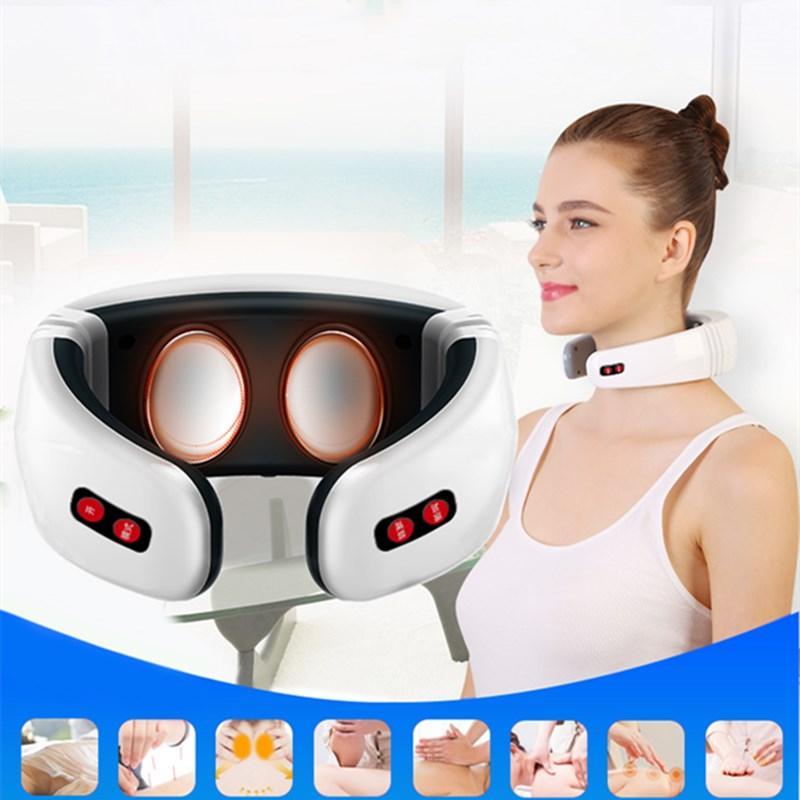 Pulso elétrico costas e pescoço massageador Far Infrared Aquecimento alívio da dor Ferramenta Healthcare Relaxamento Saúde Cervical Massager