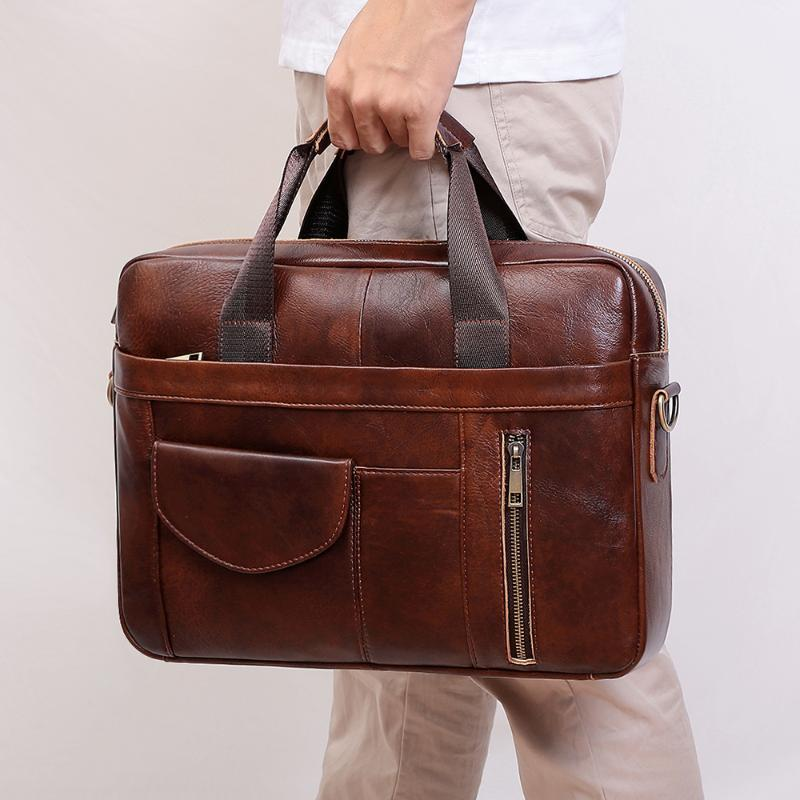 Портфоны Nesitu старинные коричневые кофе натуральная кожа A4 Office 14 '' 15.6 '' ноутбук бизнес мужской портфель мешок мешка портфолио M6504