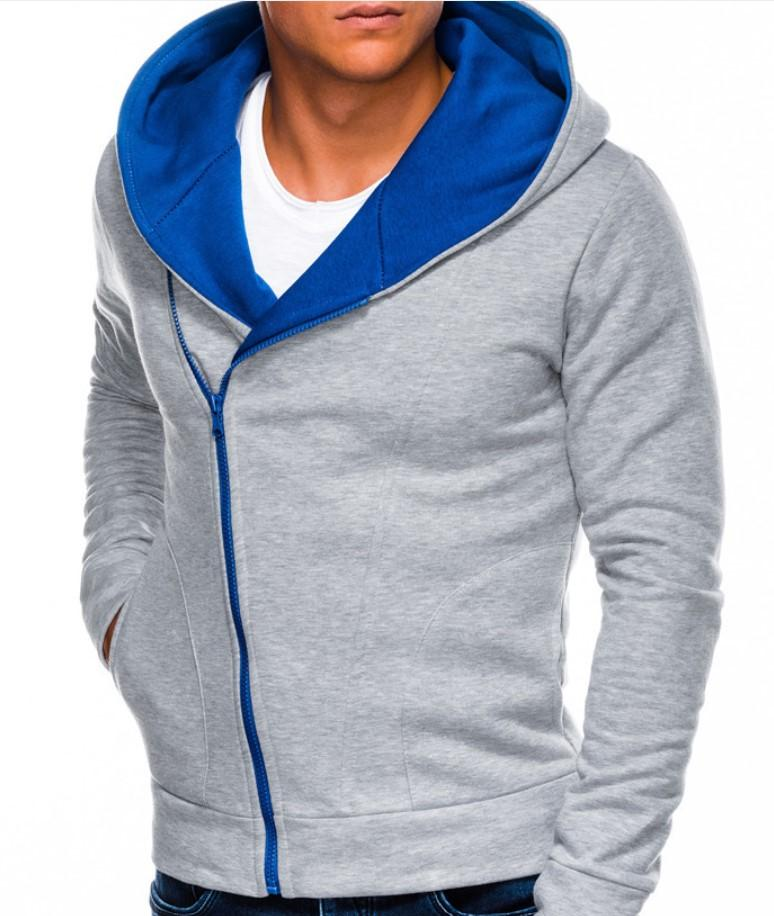 2020 nuevo color del suéter de los deportes de la moda de los hombres contraste con capucha de gran tamaño en diagonal con cremallera chaqueta de punto, coa primavera y el otoño de los hombres de la moda