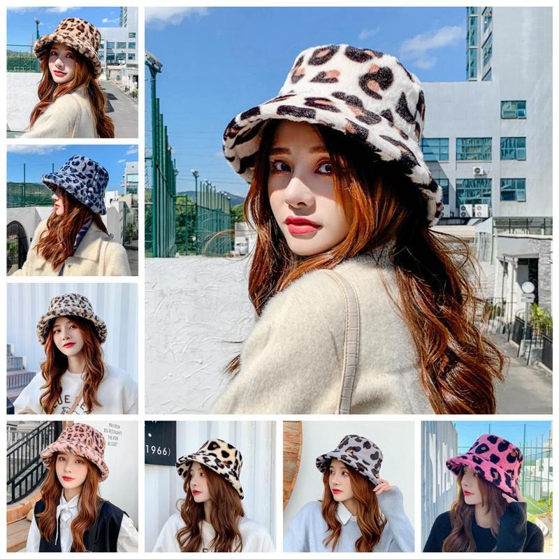 Mulheres leopardo Faux Fur Hat inverno quente Plush Fisherman Cap Bucket Hat
