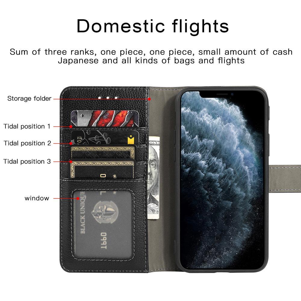 Cajas del teléfono de la cartera de Lychee de cuero (cepillo antirrobo de la tarjeta bancaria) Serie de Apple para iPhone 7 8 x XS 11 12
