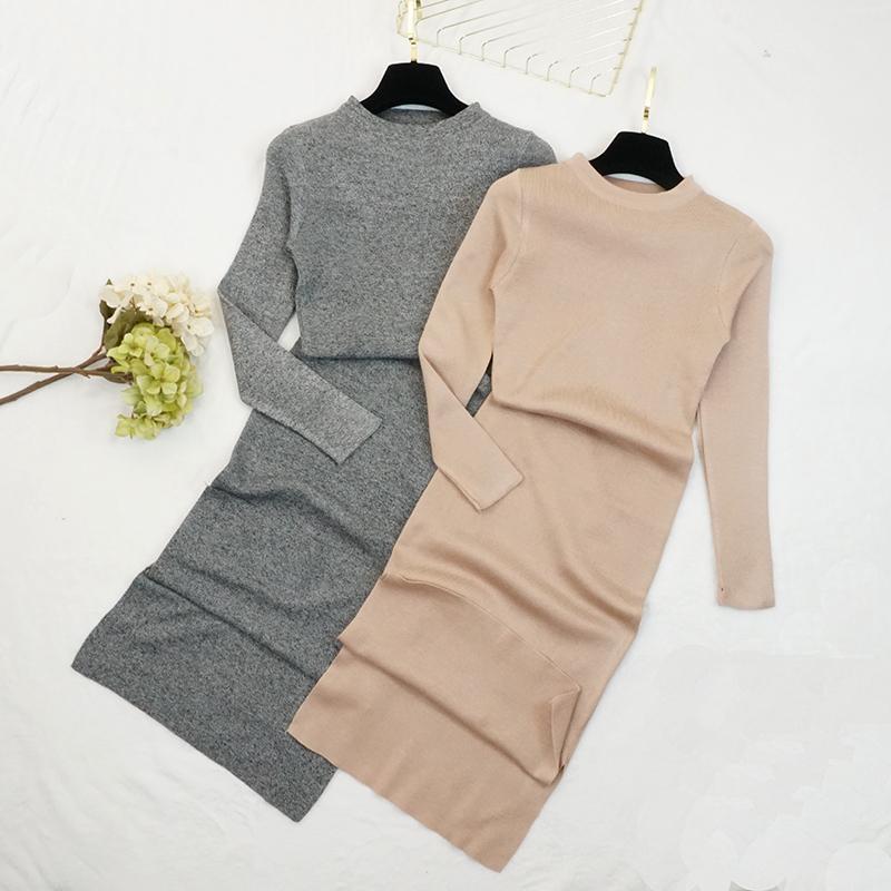 Sonbahar Kış Kadın Kazak Elbise O-Boyun Örme Seksi Bodycon Uzun Kollu Elbise Sıcak Zarif Elbise 201008