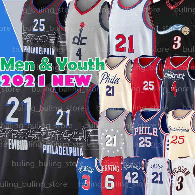 Philadelphia 76ers Washington Wizards Joel 21 Embiid Jersey Russell 4 Westbrook Iverson Ben 25 Simmons Julius 6 Erntes Allen Al 42 Horford Männer Jugend 2021 New Basketball