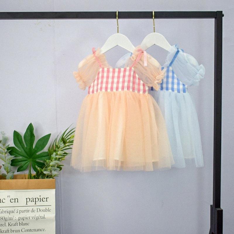 2020 2020 Princess Девушки плед Пачка платье Мода Дизайн с коротким рукавом Детская одежда для рождения Свадьба Пачка партии Vestiods AGib #