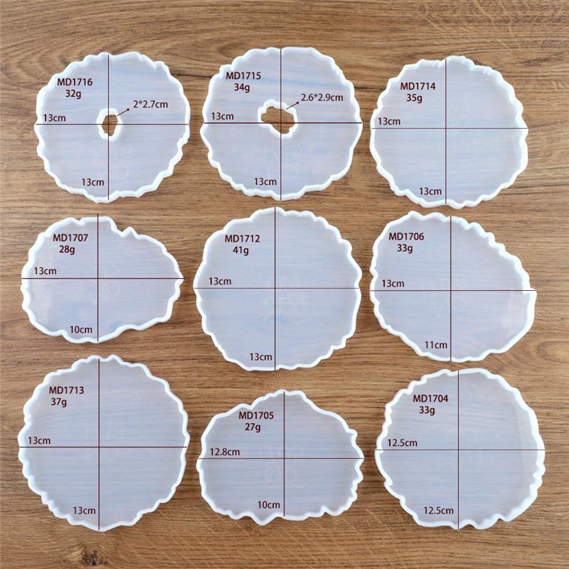 Epoxy Resina Silicone Molds Irregular Silicone DIY onda Coaster Molde para Faux AGATE Fatias Cups Mats Coasters Home Decor