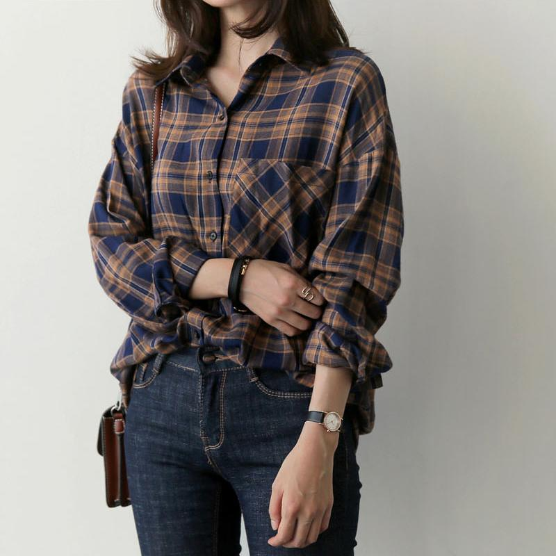 Plaid Shirt Women Fall 2020 Pockets Button Casual Loose Women Blouses Long Sleeve Cotton Woman Clothes Ladies Tops Blusa Mujer T200321