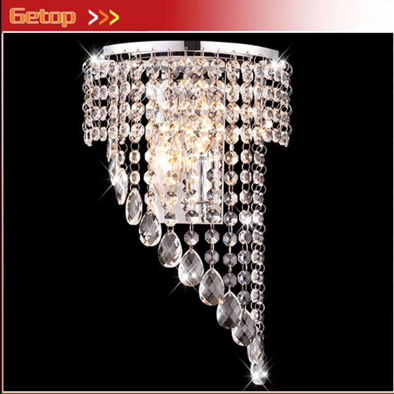 Настенная лампа роскошный K9 хрустальный занавес из нержавеющей стали E14 светодиодный для прикроватной лестницы в крючке el спальня живущая комната1