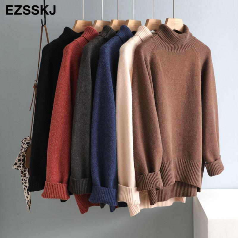Casual grosso grande outono inverno alto-pescoço grande suéter pulôver mulheres quente chique feminina solta caxemira camisolas de lã básica 201031