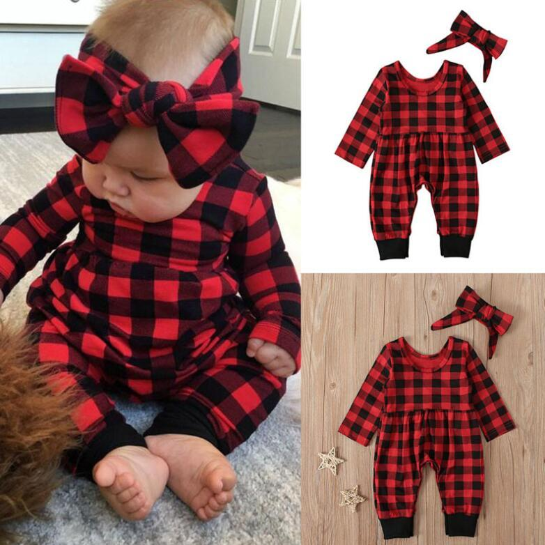 Buffalo Plaid Rompers Headband Infant Jumpsuits Girl Baby Long Sleeve Onesies Kids Crawling Clothes Suit Children Wear 2pcs/sets YL1399