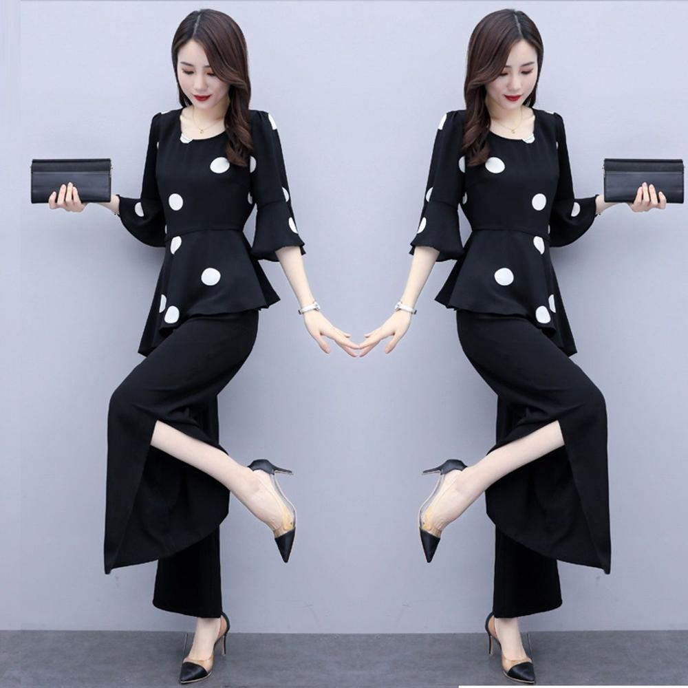 zarif kadın casual ofis nokta desen yaka yarım kawayi takım elbise femme elbise setleri yaz 5x1r