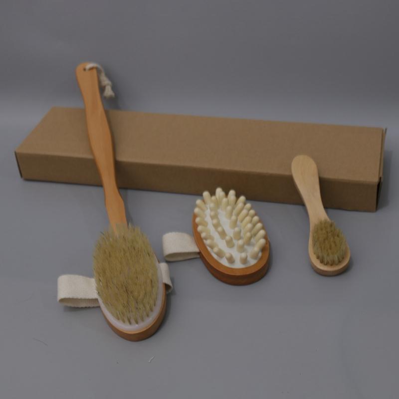 3шт / набор Ванна набор кистей для сухой кожи тела мягкой натуральной щетиной Деревянный Ванна Душ Щетки SPA тела Щетка с Съемная ручка