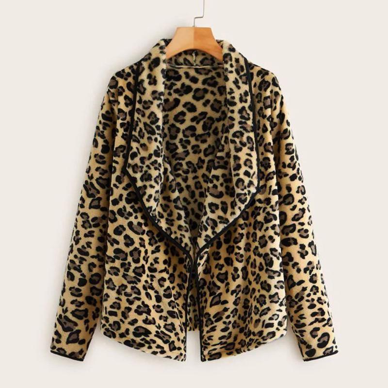 Abrigos mujer 2020 invierno kış ceket kadınlar Leopar Peluş Gevşek Düzensiz Yaka Yün Ceket Ceket chaqueta mujer Ropa