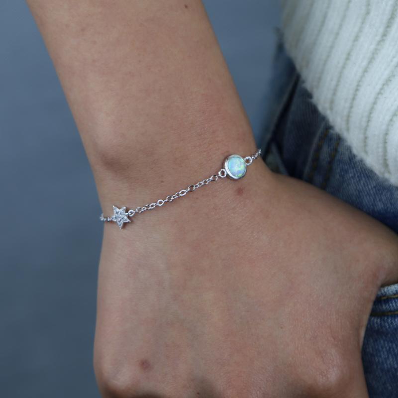 Nouveaux styles Bijoux de bracelet de lien minuscule avec Scarcing Bling CZ Star Round Opal Charm Chaîne Chaîne BRACELET ADÉPARÉ POUR FEMMES