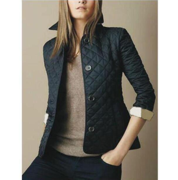 뜨거운 판매 클래식 여성 영국 패션 다이아몬드 재킷 영국 스타일 솔리드 코트 싱글 브레스트 슬림 런던 Brit 누비 이불 재킷 블랙 퍼플