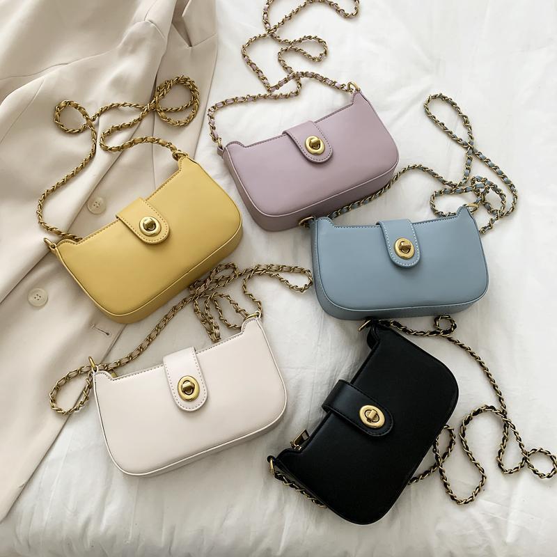 Rechteckiger Sack-Drehschloss Mode für einen festen Crossbody Leder-Schulter-Messenger Bags-Taschen Frauen-Haupttaschen für Frauen 2021 FCRUD